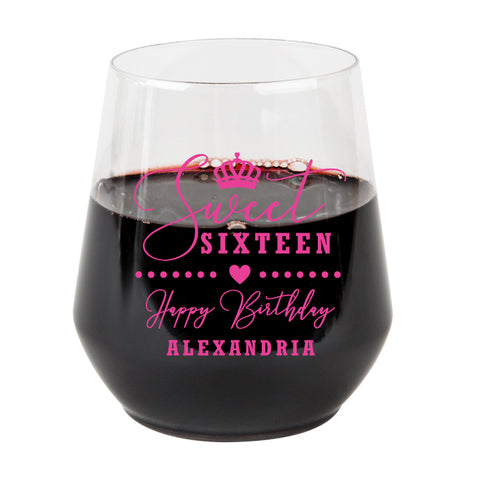 Sweet 16 plastic wine glasses