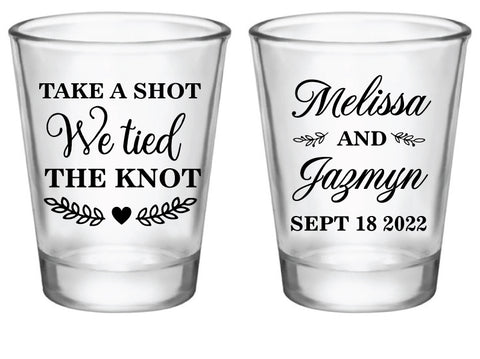 Take a shot we tied the knot- double sided