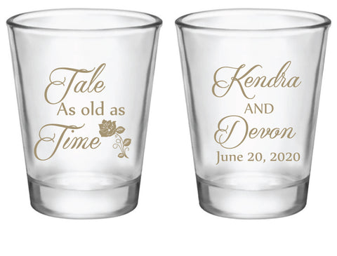 Personalized beauty and the beast wedding shot glasses