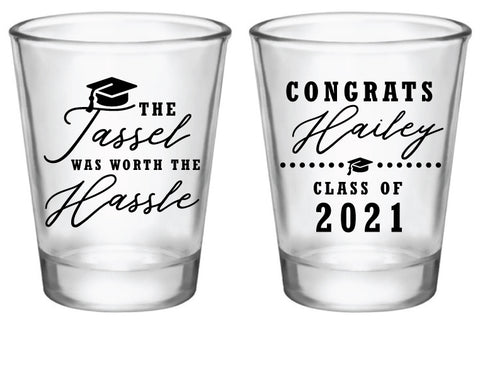 Graduation shot glasses- the tassel was worth the hassle