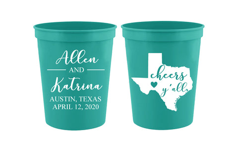 Texas wedding cups