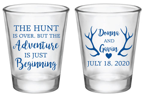 The hunt is over- wedding shot glasses