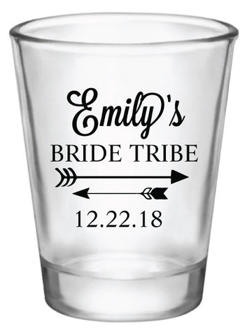 Bridesmaid gifts, bachelorette party shot glasses, personalized bride tribe shot glasses