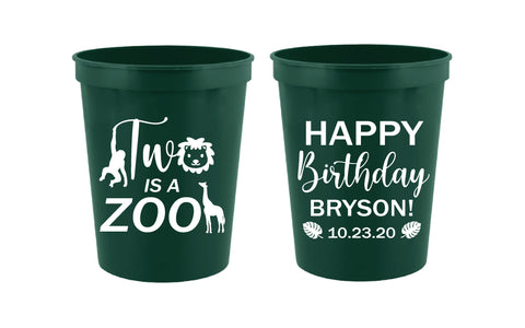 Two is a zoo- 2nd birthday cups