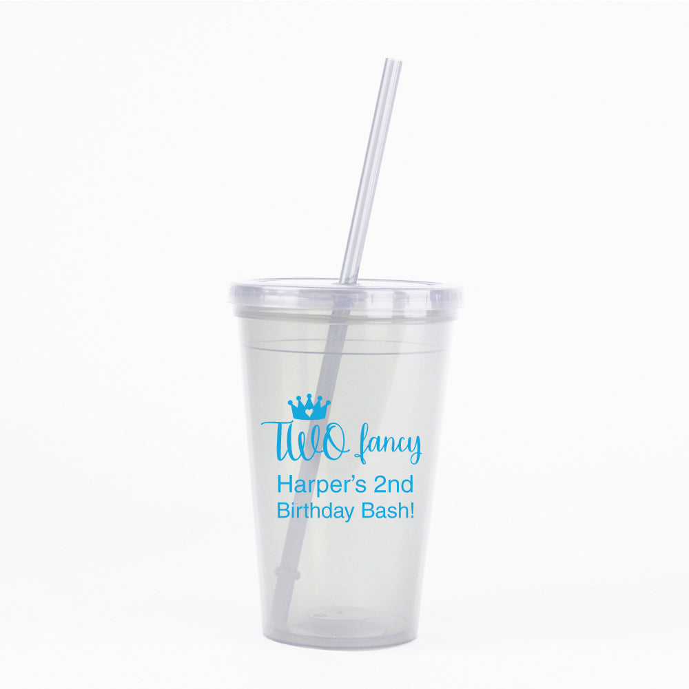 2nd Birthday Party Favors Little Girl Princess Two Fancy Personalized Tumbler Cups