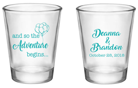 Disney inspired wedding favors, UP personalized shot glasses