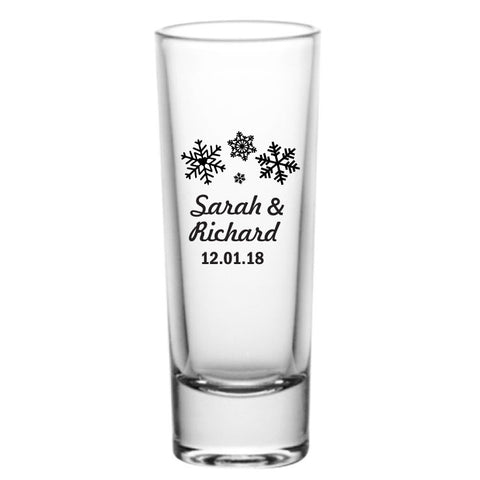 Tall winter wedding shot glasses, personalized wedding favors