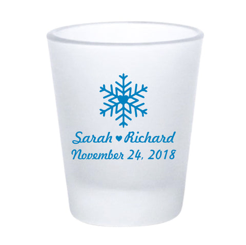 Frosted snowflake shot glasses, personalized winter wedding favors
