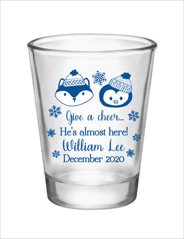 Winter baby shower shot glasses