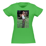 Women's White Bathing Suit Bike T-shirt