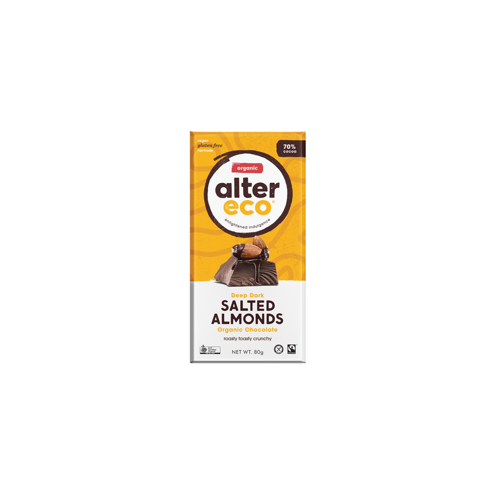 Alter Organic Eco Deep Dark Salted Almonds (70% Cocoa)