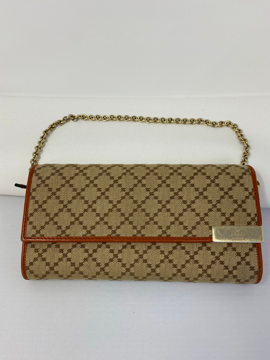 Gucci Diamante Canvas & Leather Wallet on Chain