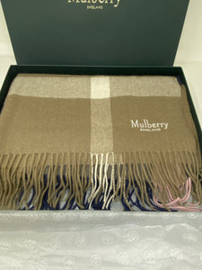 Mulberry Large Check Scarf - Sorbet Pink Lambswool