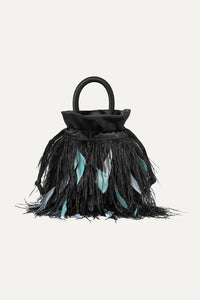 RIXO - Mabel feather-embellished satin tote - Brand New