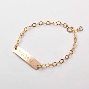 Custom Baby Name Gift Bracelet - Gold-color / 1-2year 5 - 5.5inch