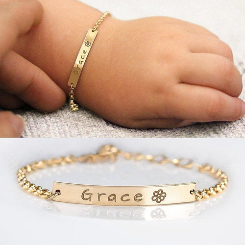 Custom Baby Name Gift Bracelet - Gold-color / 6months 4-4.5inch