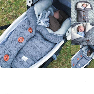 Newborn Baby Winter Warm Sleeping Bags Infant Button Knit Swaddle Wrap Swaddling Stroller Wrap Toddler Blanket Sleeping Bags - baby names of love