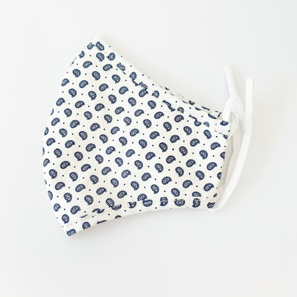 Adult Face Mask - White/navy