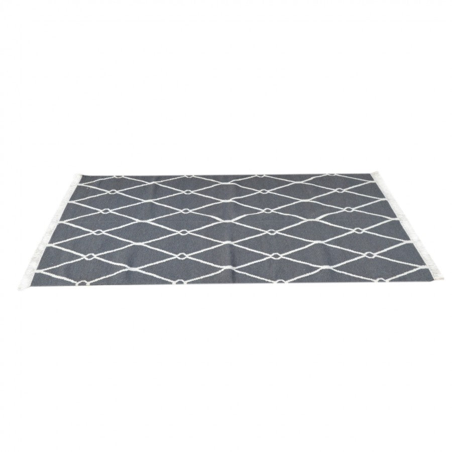 Dark Grey and White Triangle Patterned Rug with Tassels - Blakes Discounts