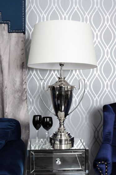 Nickel Trophy Lamp-cream