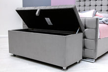Load image into Gallery viewer, OTTOMAN STORAGE GREY VELVET - Blakes Discounts