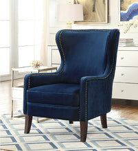 Load image into Gallery viewer, Orson Blue Velvet Wingback Chair - Blakes Discounts