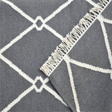 Load image into Gallery viewer, Dark Grey and White Triangle Patterned Rug with Tassels - Blakes Discounts