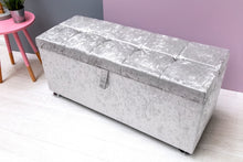 Load image into Gallery viewer, OTTOMAN STORAGE SILVER CRUSHED VELVET - Blakes Discounts