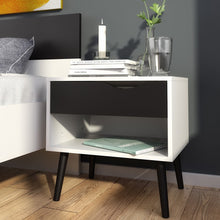 Load image into Gallery viewer, Oslo Bedside 1 Drawer in White and Black Matt