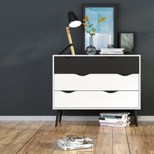 Load image into Gallery viewer, Oslo Chest of 4 Drawers (2+2) in White and Black Matt