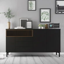 Load image into Gallery viewer, Roomers Sideboard 3 Drawers 3 Doors in Black and Walnut