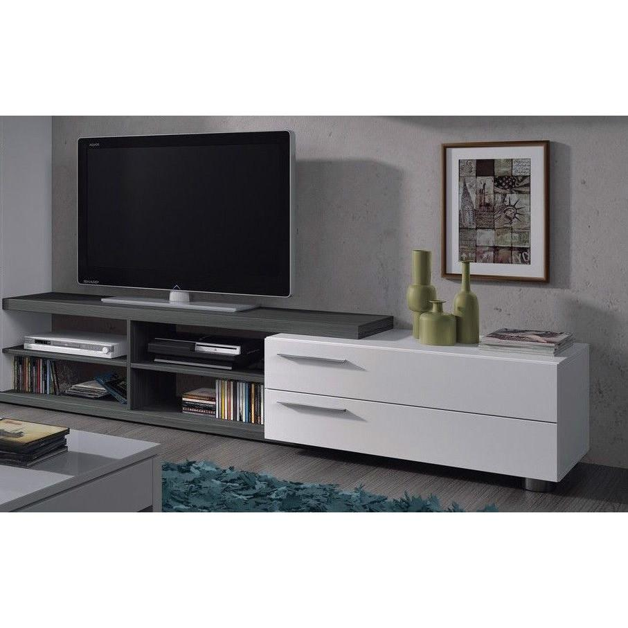 ADHARA TV Media Unit with Storage & Shelves in Ash Grey & White - Blakes Discounts