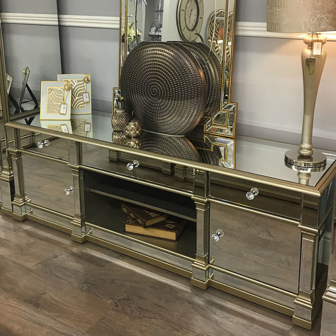 Mansly Gold Large Mirrored TV Stand