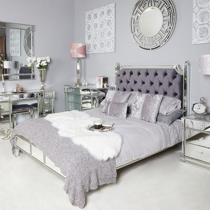 Mansly Silver Mirrored King Size Bed