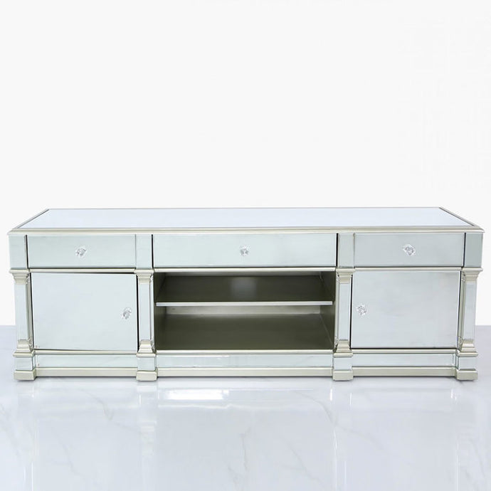 Mansly Silver Large Mirrored TV Stand