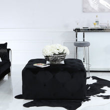 Load image into Gallery viewer, Black Square Tufted Ottoman Upholstered Black Velvet Pouffe