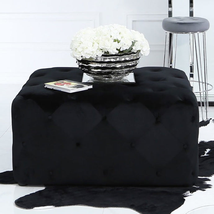 Black Square Tufted Ottoman Upholstered Black Velvet Pouffe