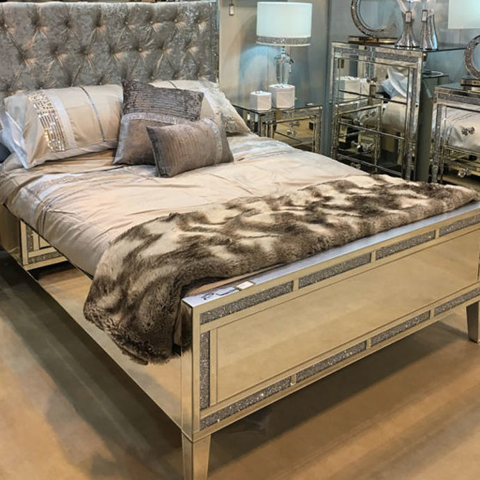 Diaz Diamond Crushed  Mirrored King Size Bed