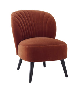 Evie Burnt Orange Velvet Cocktail Chair - Blakes Discounts
