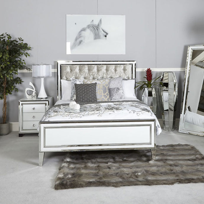 Purity Mirrored White King Size Bed
