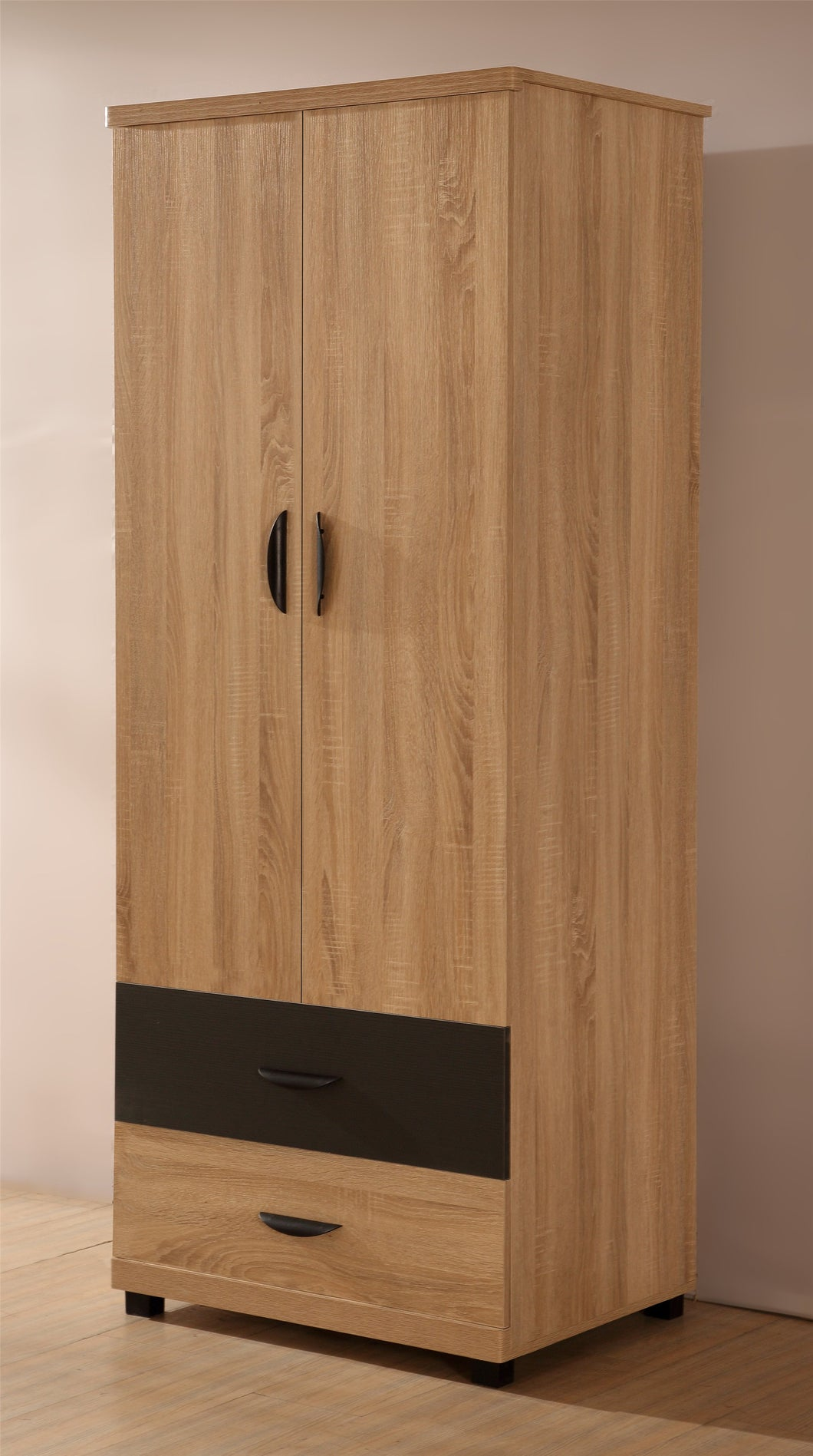 PACIFIC 2 Door + 2 Drawer Plain Wardrobe in Somano Oak & Grey Ash - Blakes Discounts