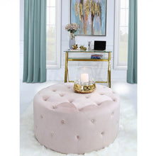 Load image into Gallery viewer, pink round stool velvet fabric upholstery with tufted buttons