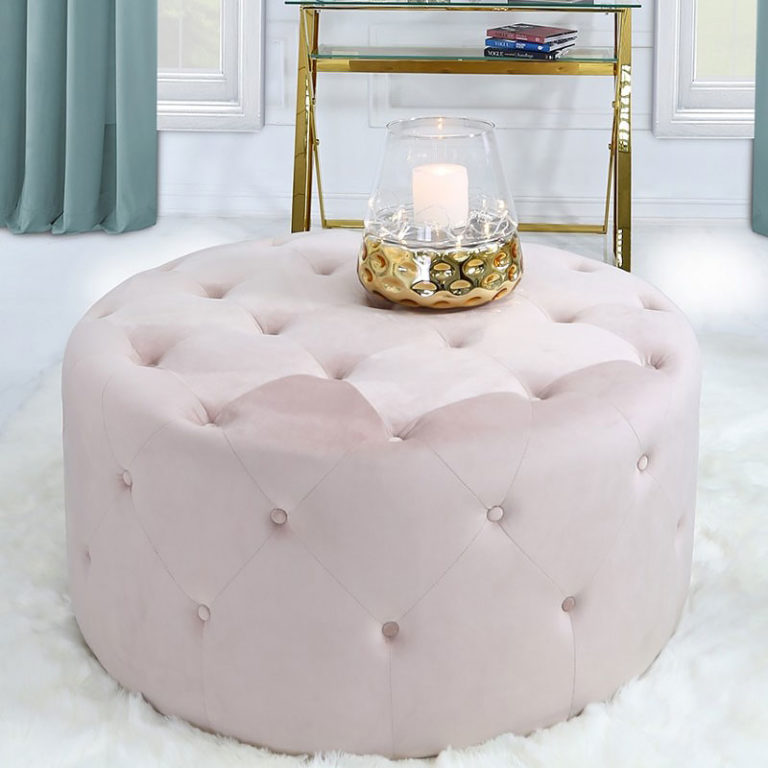 pink round stool velvet fabric upholstery with tufted buttons