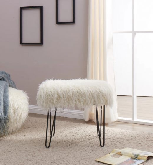 Faux Sheepskin Dressing Table Stool-White