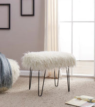 Load image into Gallery viewer, Faux Sheepskin Dressing Table Stool-White