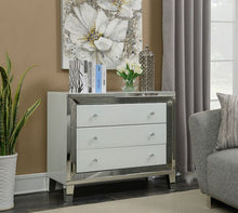 Load image into Gallery viewer, mirrored chest drawer,high gloss toughened white glass panels. 3 spacious drawers .