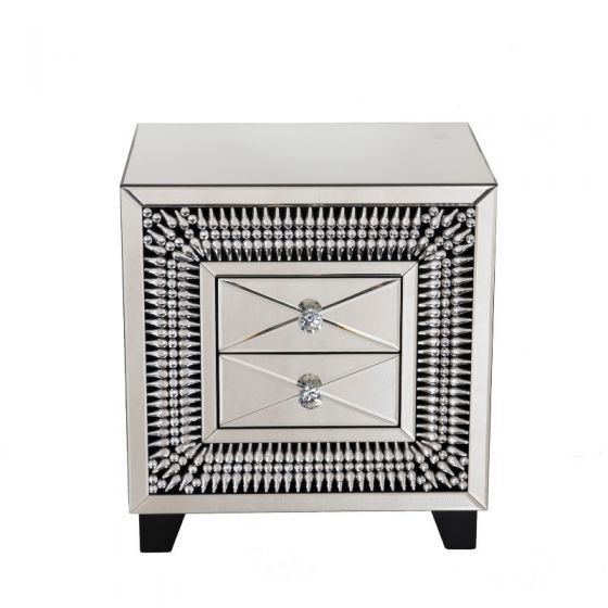 Crystal 2 Drawer Lamp Table - Blakes Discounts