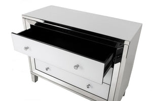 mirrored chest drawer,high gloss toughened white glass panels. 3 spacious drawers .