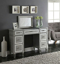 Load image into Gallery viewer, dressing table mirrored glass panels and silver mock croc leatherette