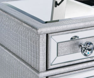 dressing table mirrored glass panels and silver mock croc leatherette